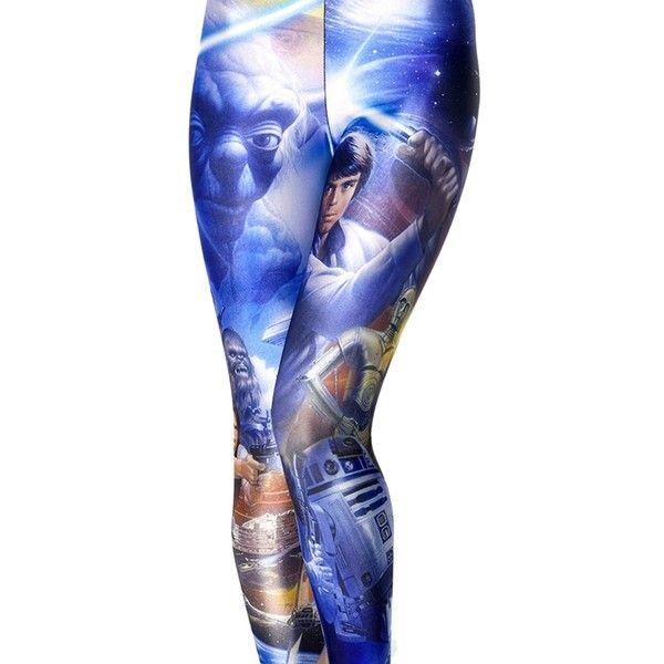 Womens Slimming Star Wars Printed Leggings Blue ($11) ❤ liked on Polyvore featuring pants, leggings, blue, blue trousers, blue leggings, slim pants, slim fit pants and slim trousers