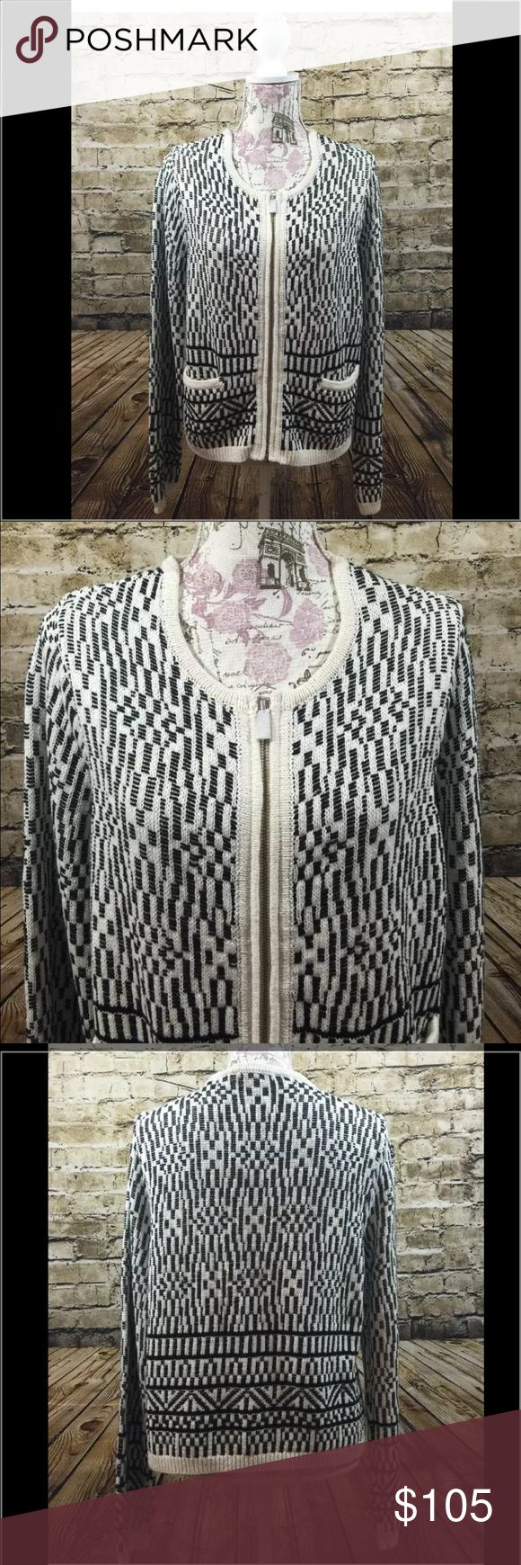 """Joie NWT Women's Zip up Cardigan L NWT Joie Zip up Cardigan with 2 pockets in front. 55% Linen/ 45% Cotton. Size Large. Black and white design, so cute! Measurements: (Shoulder to shoulder: 16"""") (Pit to pit: 20"""") (Length: 22.5"""") (Sleeve: 27"""") Joie Jackets & Coats"""