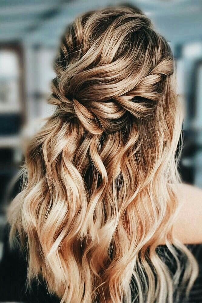 Half Up Down Hair With Waves And A Braid Bridal Hair