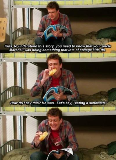 Eating a sandwich #himym #lol