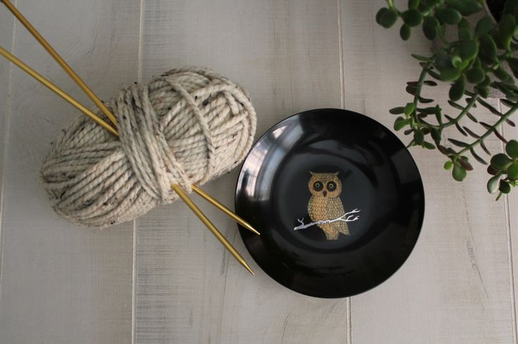 Couroc of Monterey Black and Gold Owl Bowl / Couroc / Vintage Owl / Midcentury Decor by theloftonbroome on Etsy