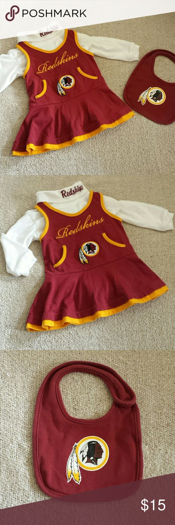 Adorable Redskins Baby Cheerleader Outfit, 12mos Excellent condition NFL Team Apparel Redskins Baby Cheerleader outfit with matching bib. Size 12 months. From smoke free & pet free home. NFL Team Apparel  Dresses Casual