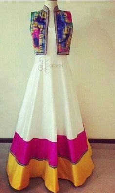Beautiful white anarkali with pink border and colourful jacket :: Perfect Match ::