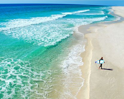 Pensacola, FL White sand, deep blue water, you can see through and miles and miles are pristine beaches.