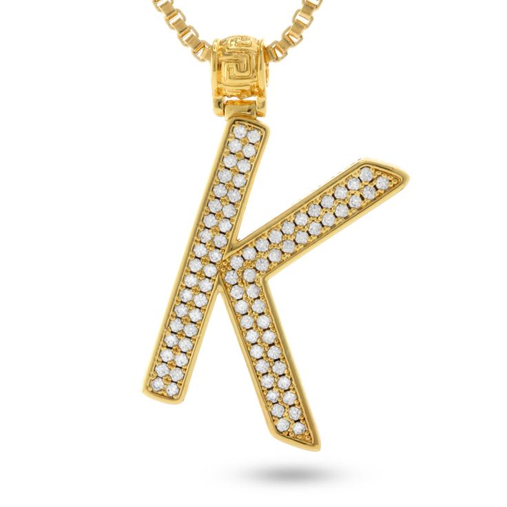 """Lined with handset CZ stones, each """"K"""" initial pendant provides a signature streetwear look, complete with 14K gold plating and a 2mm box chain. Order yours today."""