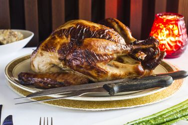 Roast brined turkey with gravy and cranberry relish