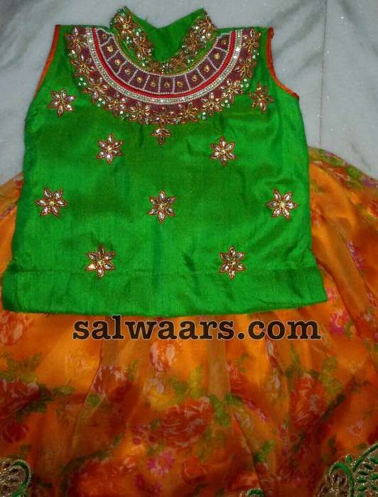 Floral Lehenga in Green Orange - Indian Dresses