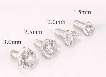 Sizes...Sterling Silver Internally 1.2mm(14g) Threaded CZ Prong Set Stones - 4 Sizes - Price Per 1 :: Dermal Anchor Tops :: MicroDermal Anchors :: P...