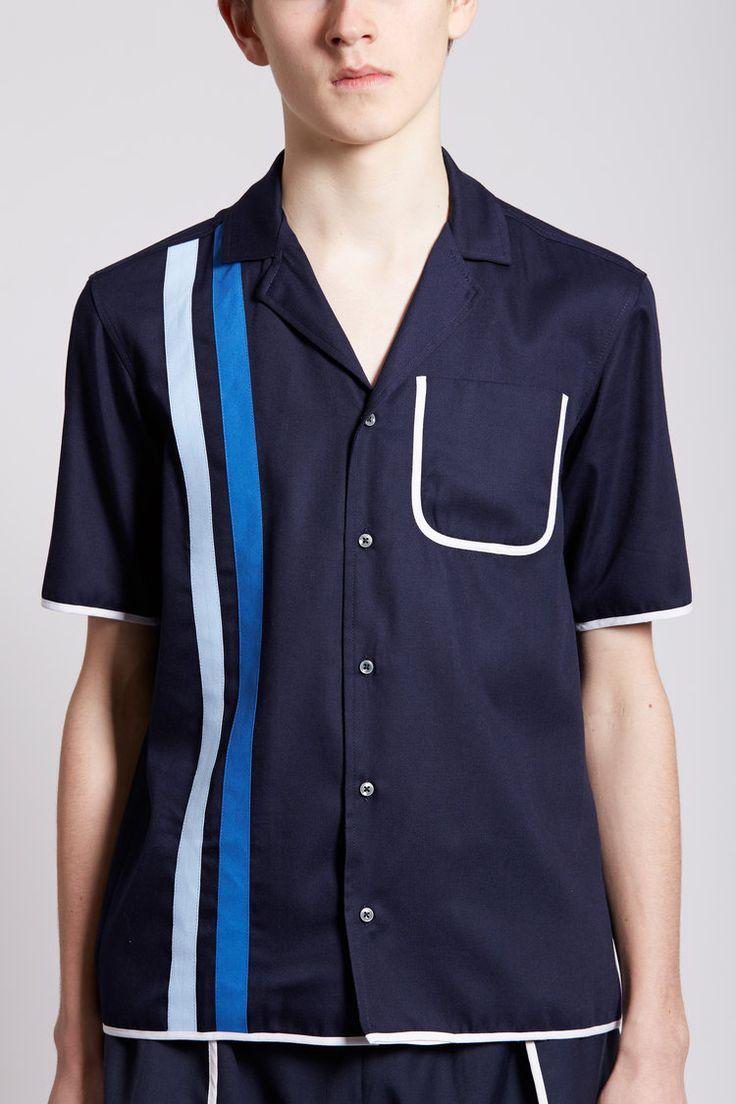 Daniel W. Fletcher Double Stripe Pyjama Shirt (Navy)