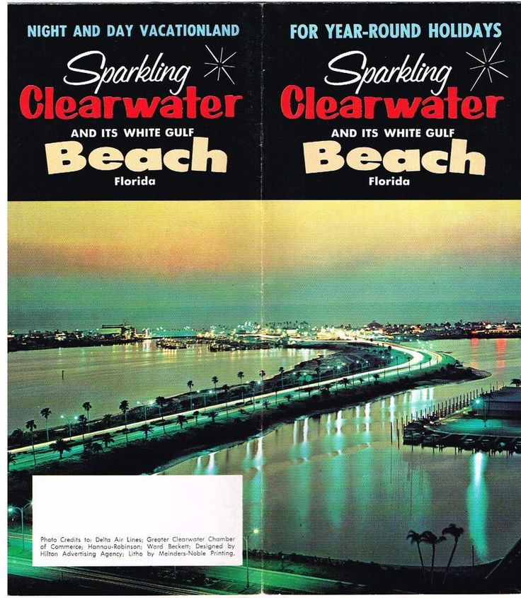 Vintage Florida Travel Brochure Clearwater Beach White Gulf 1970's Pictures Info