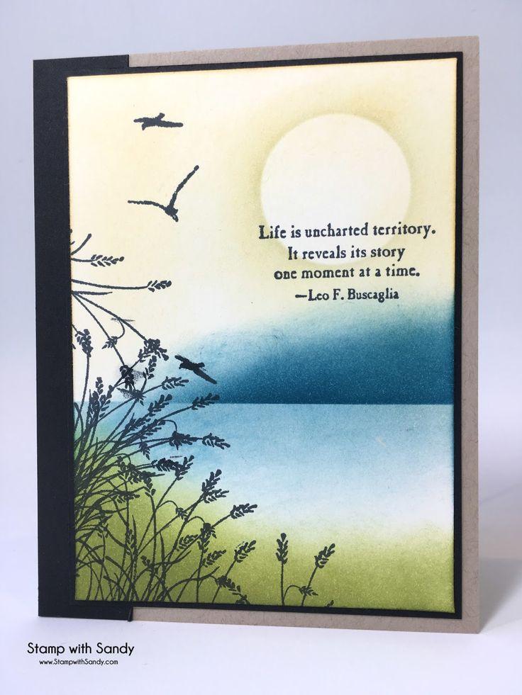 "Stamp Sets: Wetlands, Uncharted Territory; Card Stock: Whisper White, Basic Blask, Crumb Cake; Ink Pads: Memento Tuxedo Black, So Saffron, Old Olive, Island Indigo; Tools: Sponge Daubers, 1-3/8"" Circle Punch"