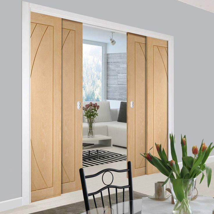 Quad Telescopic Pocket Salerno Oak Veneer Door.    #oakdoors #flushdoors #interiordoors #telescopicdoors #pocketdoors #hiddendoors #doors #interiordesign