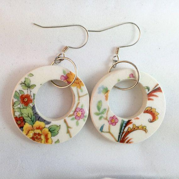 Floral hoop earrings broken china jewelry by CellarDoorShoppe
