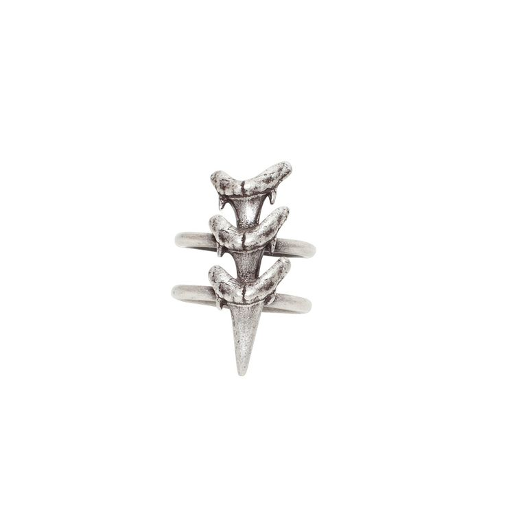 Triple Shark Tooth ring - $59. Detailed statement ring comprising of two thin bands with three small distressed shark tooth details, in a burnished antique silver finish. Lovingly created by designer Luv AJ, and made in the USA. www.savethelastpinker.com.au/shop/triple-shark-tooth-ring/