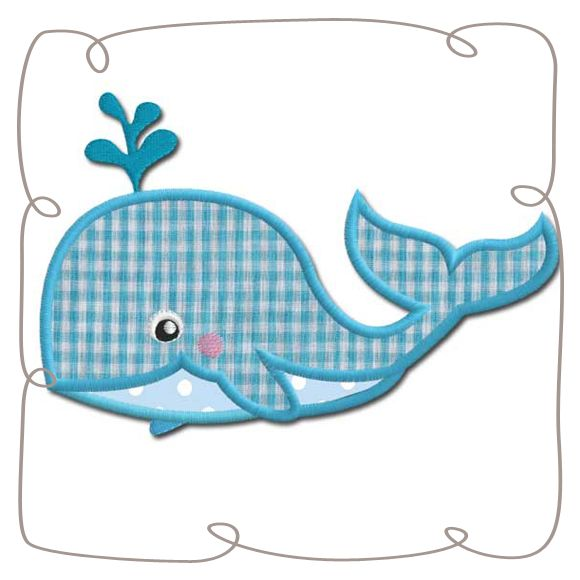 Whale Applique Machine Embroidery Design pattern-INSTANT DOWNLOAD
