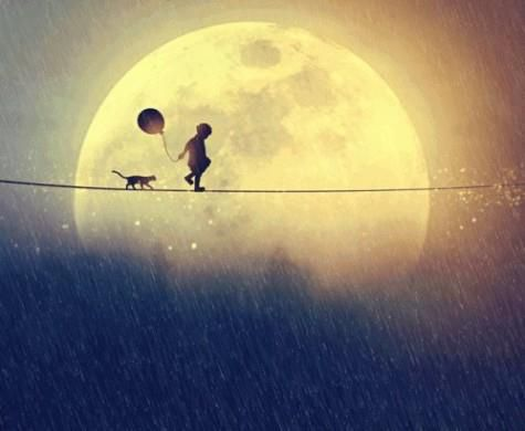 A child's walk with the moon...