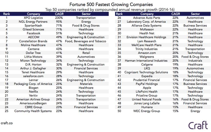 Fortune 500 – Fastest Growing and Shrinking Companies - Craft