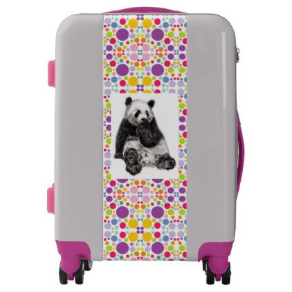 Cute Colorful Panda for Girls - Pink Purple Luggage - girl gifts special unique diy gift idea