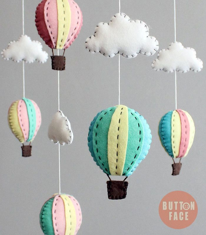 DIY kit - hot air balloon baby mobile