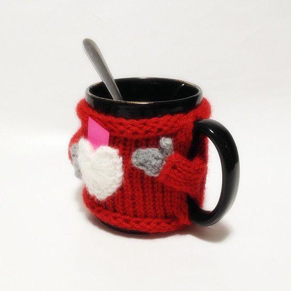 Linda moda de lana suéter taza acogedor con bolsillo corazón