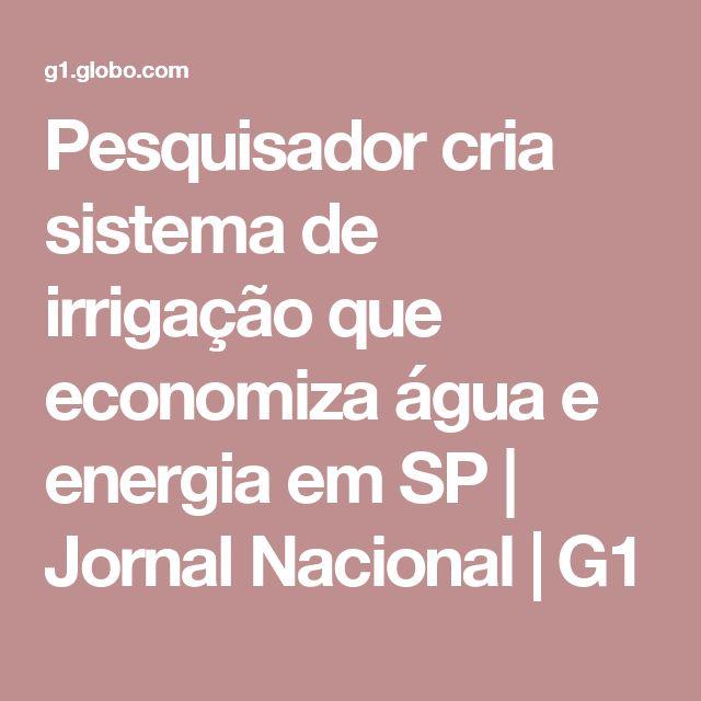 Pesquisador cria sistema de irrigação que economiza água e energia em SP   Jornal Nacional   G1