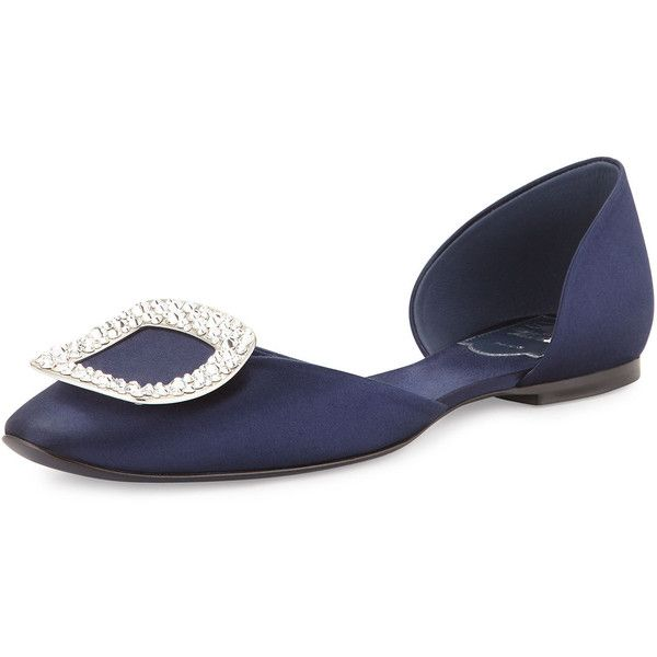 Roger Vivier Chips Strass Crystal-Buckle d'orsay Flat ($975) ❤ liked on Polyvore featuring shoes, flats, navy, shoes ballerina flats, navy d orsay flats, ballet shoes, round toe ballet flats, ballet flats and navy flat shoes