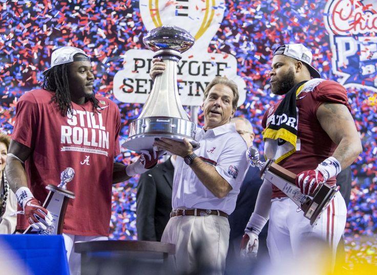 Alabama head coach Nick Saban receives the Peach Bowl trophy after the Alabama vs. Washington Peach Bowl College Football Playoff semifinal football game, Saturday, Dec. 31, 2016, at the Georgia Dome in Atlanta, Ga.  Vasha Hunt/vhunt@al.com | Alabama 24 Washington 7 in the 2016 Peach Bowl CFB Playoff. #CFBPlayoff #BAMAvsWASH #PeachBowl #Alabama #RollTide #Bama #BuiltByBama #RTR #CrimsonTide #RammerJammer