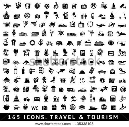 165 icons. Travel symbols and Tourism signs, vector illustration