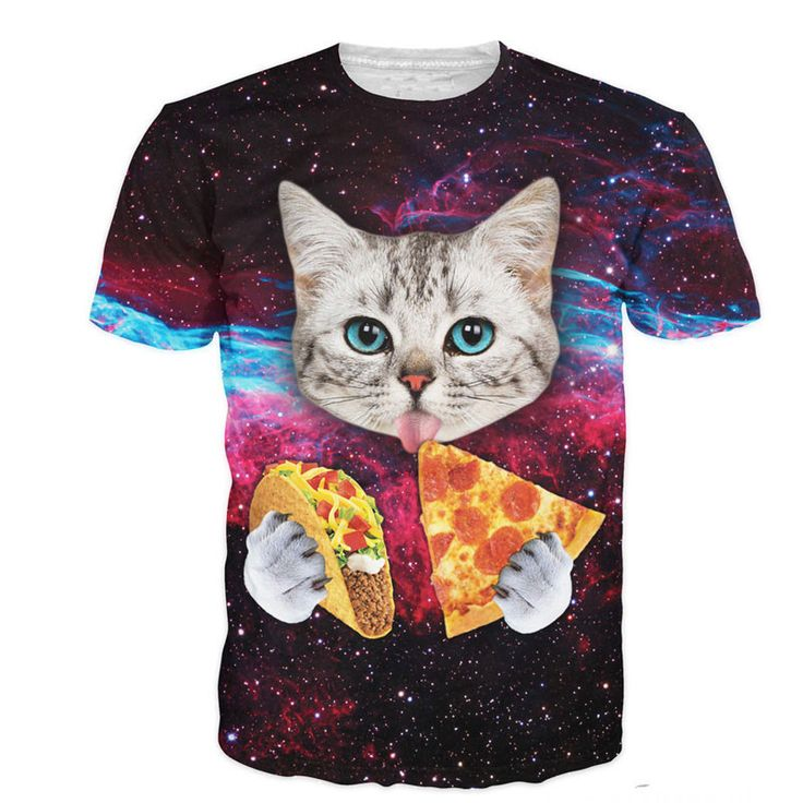Cloudstyle 21パターンs-3xl 3dメンズtシャツ半袖猫食べるピザで宇宙プリントtシャツオムoネックブランド服