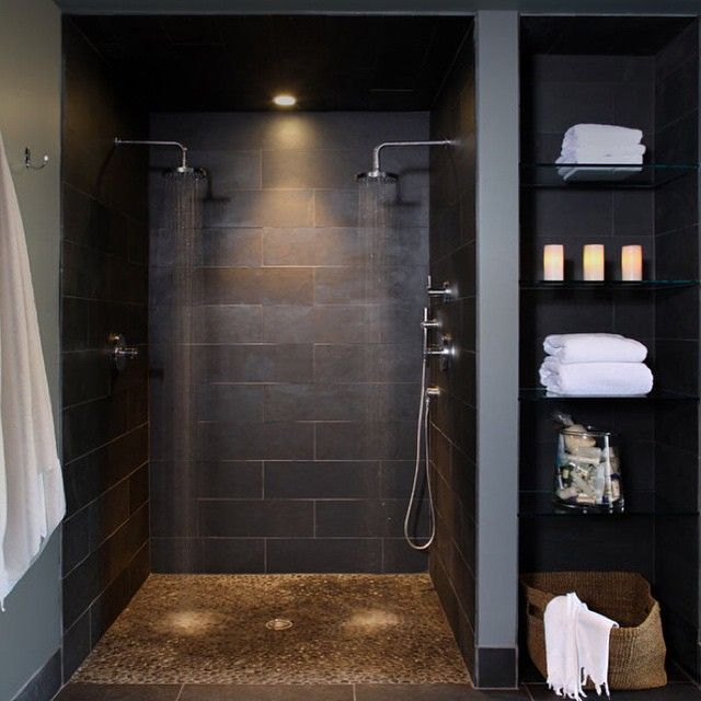 bathroom with black shower - Bathroom Decorating Ideas For Guys