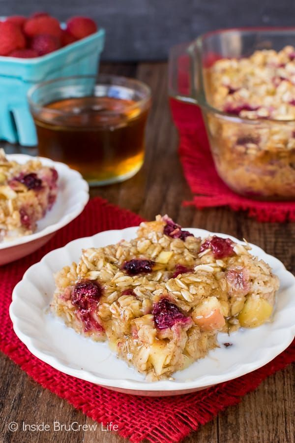 Raspberry Apple Baked Oatmeal - a pan of baked oatmeal made with apples and frozen fruit is a delicious way to start the day. Easy recipe for busy mornings. #oatmeal #apple #raspberry #bakedoatmeal #easy #recipe #breakfast
