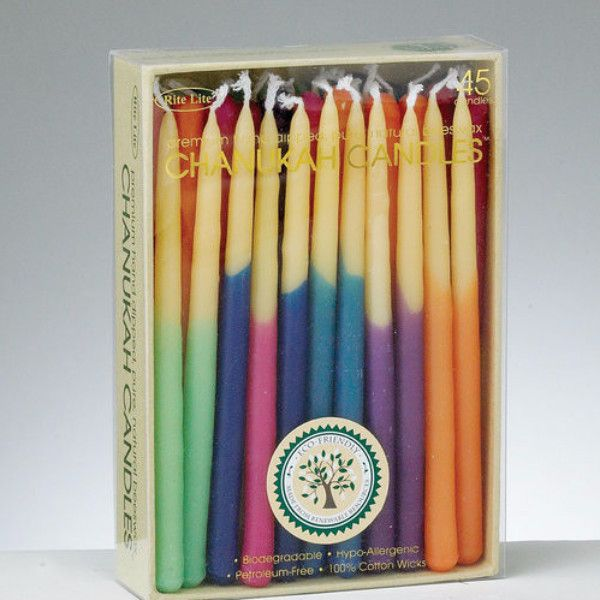 Hanukkah Candles - Hand-dipped Beeswax, Assorted Colors