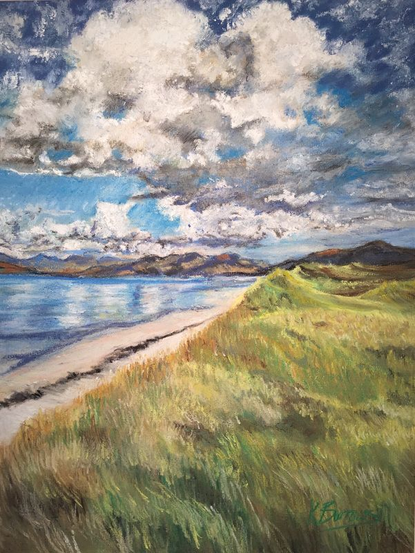 North Uist Beach, Outer Hebrides, Scotland Pastel, Pen and Pencil - Art by Katherine Burrows