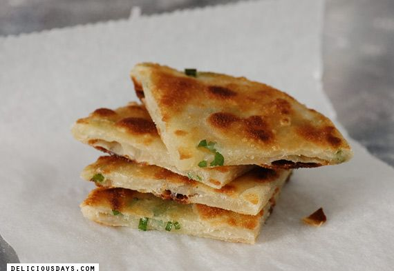 green onion pancakes! I've had this in a restaurant and now I can try to make them at home.