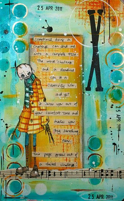 I love the little character on this art journal page!! Love the colors, too!