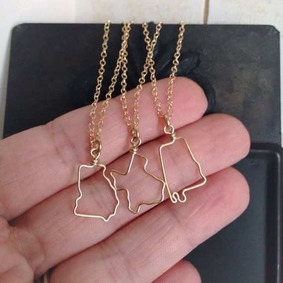 Small State Necklace  Tiny State Outline Necklace  by theFolk, $34.00. Get all three on one chain...CA NC VA...