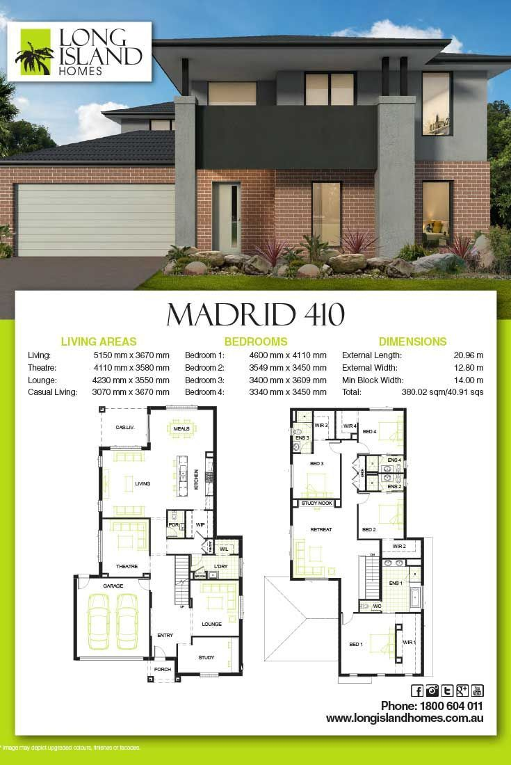 Long Island Homes 2018 Floor Plan Of The Madrid 410 Home Builders Melbourne Building Plans House House Plans