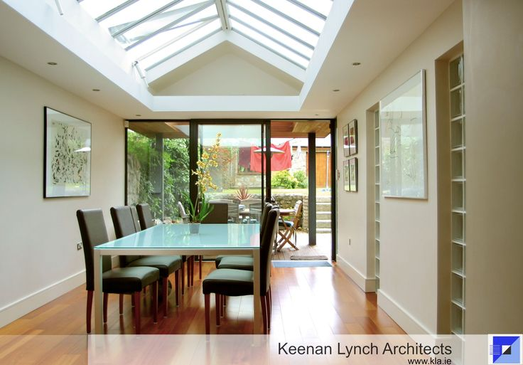 "Let the sun shine in. info@kla.ie The combination of multiple skylights, sliding glass doors and interior windows transforms this compact extension into a ""Light Box."" Keenan Lynch Architects find creative solutions to flood homes with natural light."
