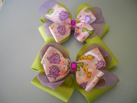 A Set of Animal Hair Bows by ang744 on Etsy, $5.00: Crafty Hair, Hair Bows, Hair Accessories, Animal Hair