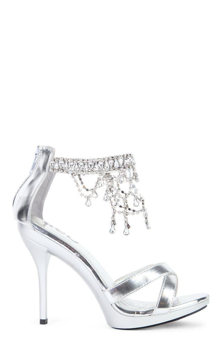 Silver Open Toe High Heels