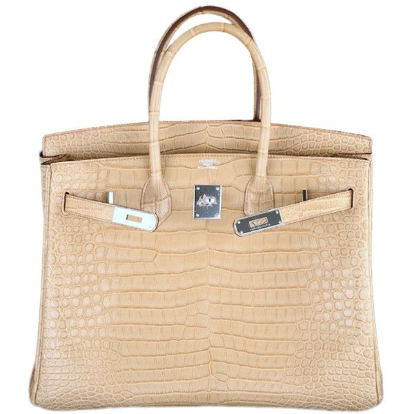 Hermes - HERMES BIRKIN BAG 35cm POUSSIERE MATTE CROCODILE POROSUS ❤ liked on Polyvore featuring bags, handbags, hermes, purses, bolsas, croco embossed handbags, croco handbags, hermes purse, crocodile handbags and croc purse