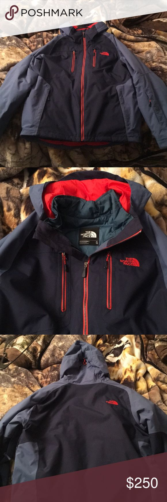North Face Winter Jacket /w liner It's a blue jacket with 2 different colors of blue and a orange north face logo. It has 4 pockets on the front of the jacket. Has another pocket on left arm and that has a cloth attached inside the pocket for wiping your goggles,glasses or even your phone. Has zipper under both arms for air vents if you get hot. There are no holes or rips or tears in the jacket. This is the best jacket iv ever owned!! Only reason I'm selling it is because I just got a new…