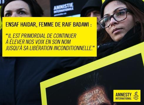 Ensaf Haidar, à la manifestation d'Amnesty International Canada © Karel Chladek