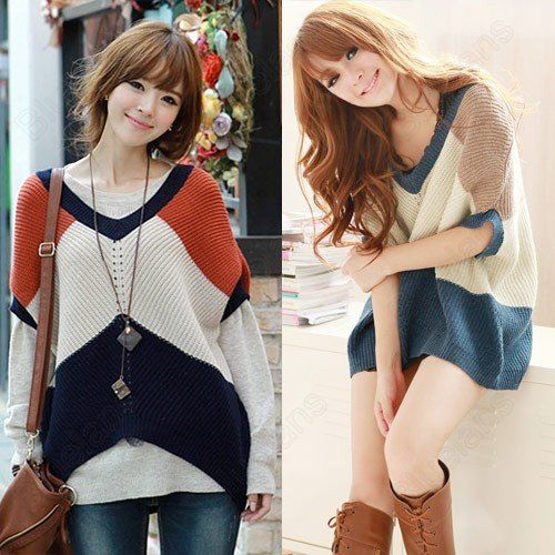 Fashion All-match Fancyqube V-Neck Tunic Knit Wear Pullover Stripe Bat Sleeve Sweater Dress on AliExpress.com. 5% off $15.19