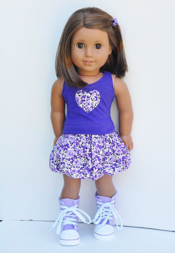 American Girl Clothes - Purple Heart Tank with Floral Bubble Skirt