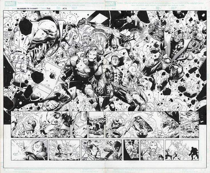 New Avengers: Illuminati #5, pgs 18-19 by Jim Cheung and Mark Morales  Artists: Jim Cheung (Penciller) - W.B.