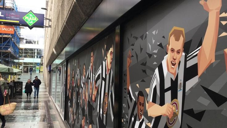 The mural featuring the likes of Alan Shearer and Bobby Robson sits just off Northumberland Street