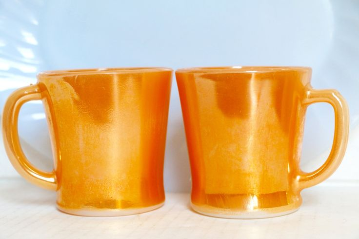 Pair of Peach Lusterware Mugs Fire King Orange Coffee Cups by digatomic on Etsy