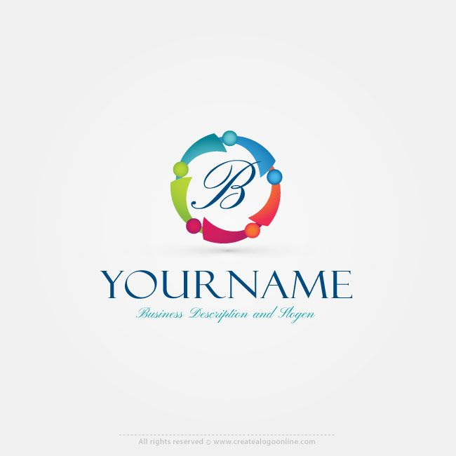 Online Free Logo Maker Abstract People Logo Design