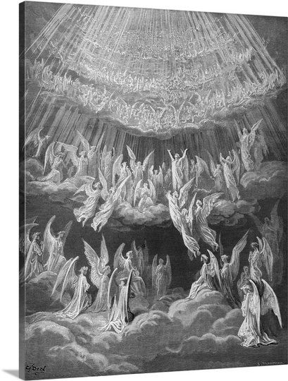 Host of Angels Singing   Dante's Paradisio: Angels in the Sky Photo Canvas Print   Great Big Canvas